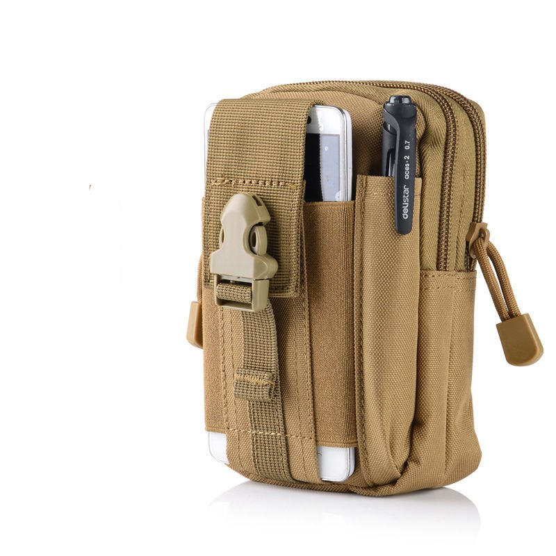 Khaki Military Inspired Bag. Compatible with Various Cell Phones, Knives, Flashlights, and more.