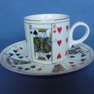 Horchow Playing Cards Tea Cup & Saucer Collectible