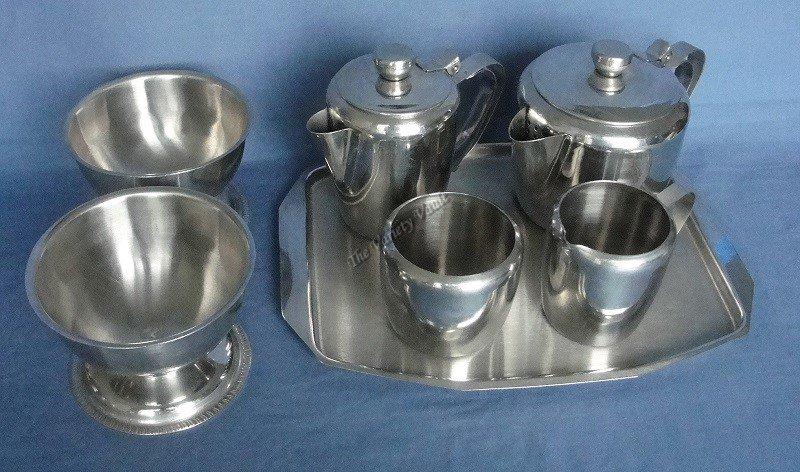 Vintage Stainless Steel Tea Set Dessert Bowls Set of 7