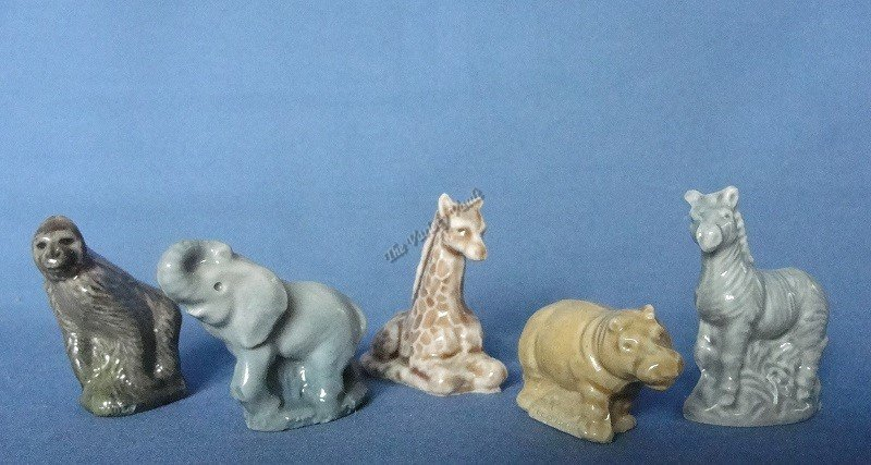 Wade Miniature Ceramic Bone China Animals Vintage Gorilla Elephant Giraffe Hippo Zebra