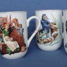 Norman Rockwell Set of 4 Classic Mug Gift Set Coffee Cocoa New