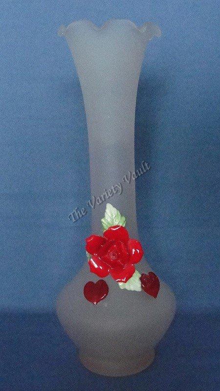 Pink Frosted Glass Vase Valentines Rose 3D