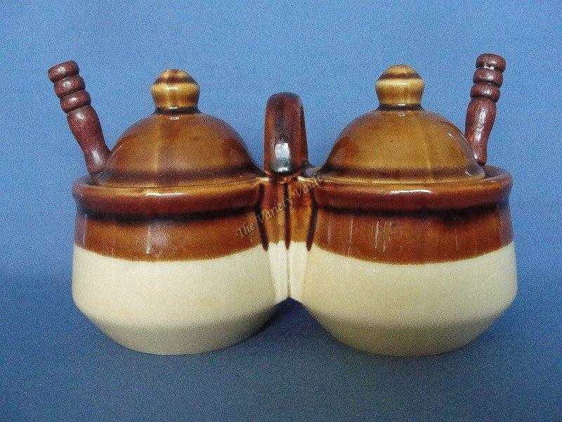Stoneware Sugar Condiment Double Bowl