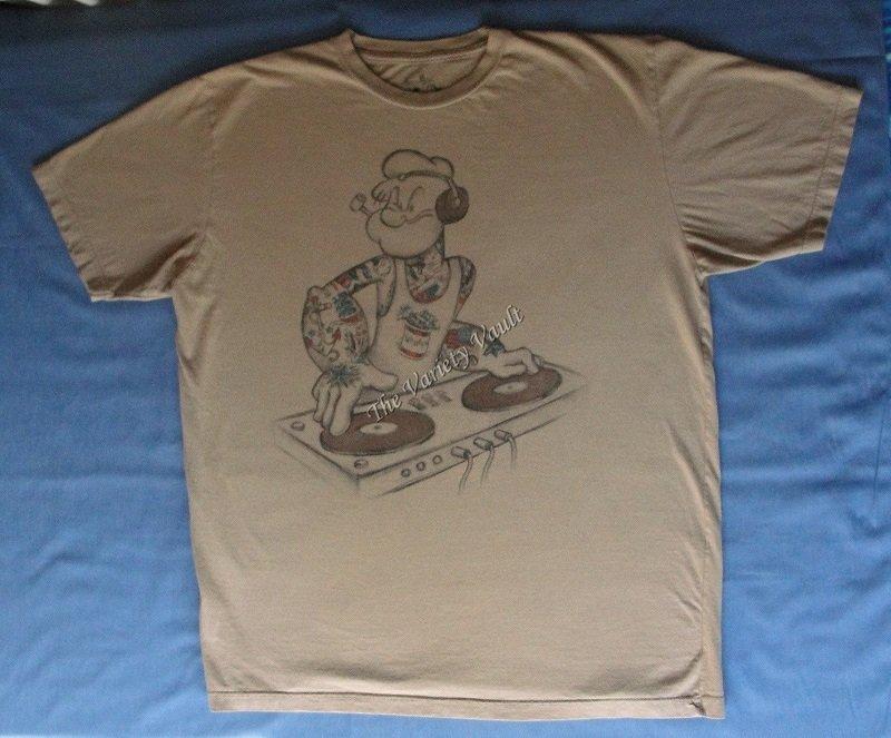 Popeye DJ Music Mixer Spinach Party T-Shirt Men�s XL/XG Large Cartoon Fun