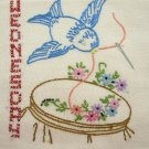 Blue Birds DOW Dish Towel embroidery transfer pattern AB7437
