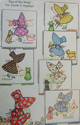 Bonnet / Sunbonnet Girl & Kitten DOW TOWEL embroidery transfer pattern Mc668