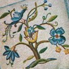 "Bird Jacobean Crewel embroidery Pillow transfer 12"" x 12"" original mc6421(b)"