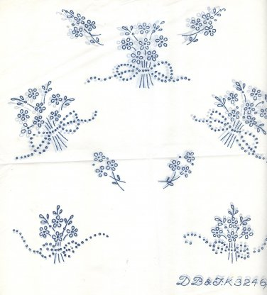 Two (2 x ) FLOWERS & BOWS small dainty transfers ORIG DBT3246