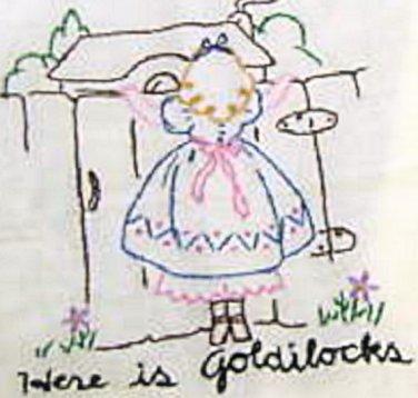 40's Goldilocks & 3 Bears transfer pattern embroidery ww1004