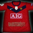 2009 MANCHESTER UNITED HOME OWEN 7 UEFA PATCH KITS KIDS SHORTS JERSEY # L
