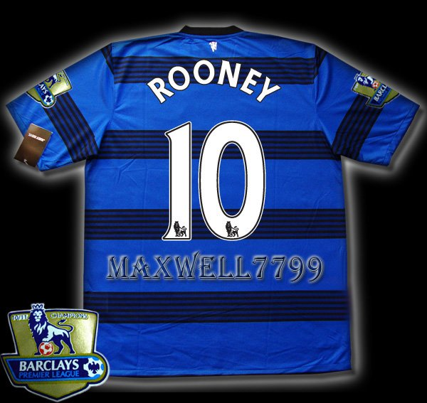 NEW 11-12 MANCHESTER UNITED AWAY ROONEY 10 CHAMP PREMIER PATCH SOCCER SHIRT JERSEY