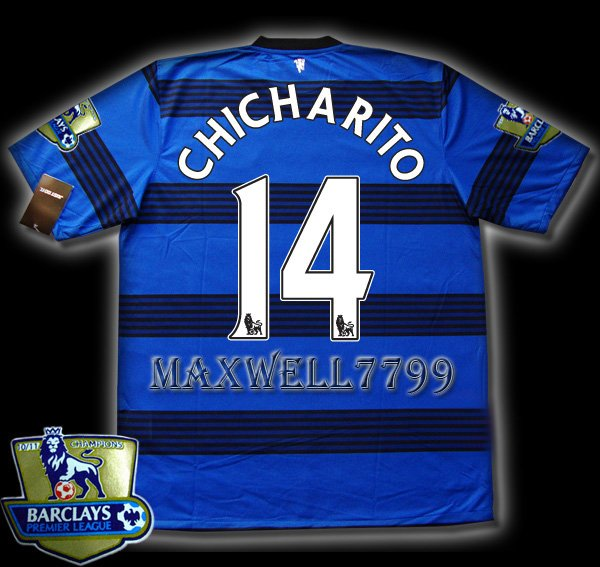 NEW 11-12 MANCHESTER UNITED AWAY CHICHARITO 14 CHAMP PREMIER PATCH SOCCER SHIRT JERSEY
