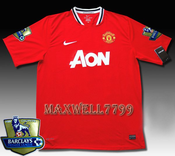 NEW 11-12 MANCHESTER UNITED HOME BLANK CHAMP PREMIER PATCH SOCCER SHIRT JERSEY