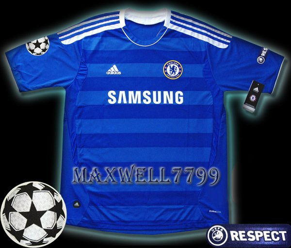 NEW 11-12 CHELSEA HOME BLANK UEFA+RESPECT PATCH SOCCER SHIRT JERSEY