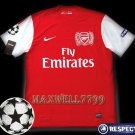 NEW 11-12 ARSENAL HOME BLANK UEFA+RESPECT PATCH SOCCER SHIRT JERSEY