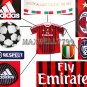 NEW 11-12 AC MILAN HOME BLANK ALL 4 PATCHES SOCCER SHIRT JERSEY