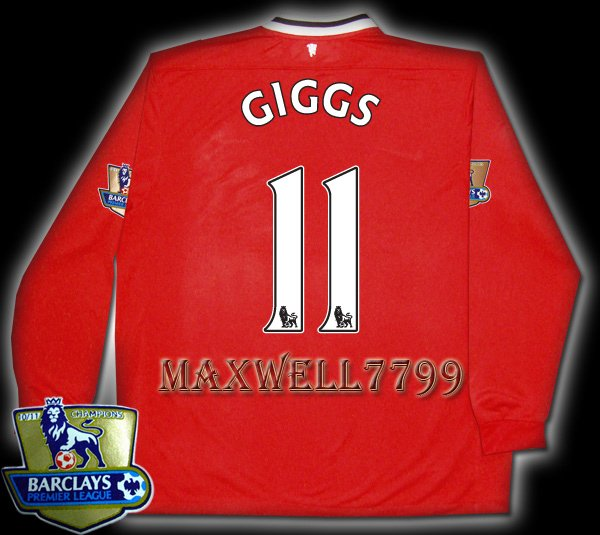 NEW 11-12 MANCHESTER UNITED HOME GIGGS 11 CHAMP PREMIER PATCH LS SOCCER SHIRT JERSEY