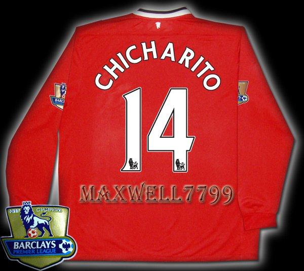 NEW 11-12 MANCHESTER UNITED HOME CHICHARITO 14 CHAMP PREMIER PATCH LS SOCCER SHIRT JERSEY