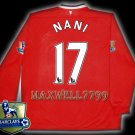 NEW 11-12 MANCHESTER UNITED HOME NANI 17 CHAMP PREMIER PATCH LS SOCCER SHIRT JERSEY