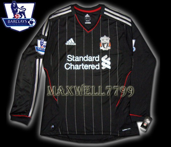 NEW 11-12 LIVERPOOL AWAY BLANK PREMIER PATCH LS SOCCER SHIRT JERSEY