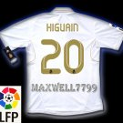 NEW 11-12 REAL MADRID HOME HIGUAIN 20 LFP PATCH SOCCER SHIRT JERSEY