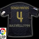 NEW 11-12 REAL MADRID AWAY SERGIO RAMOS 4 LFP PATCH SOCCER SHIRT JERSEY
