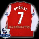 NEW 11-12 ARSENAL HOME ROSICKY 7 PREMIER PATCH SOCCER LS SHIRT JERSEY