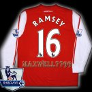 NEW 11-12 ARSENAL HOME RAMSEY 16 PREMIER PATCH SOCCER LS SHIRT JERSEY