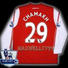 NEW 11-12 ARSENAL HOME CHAMAKH 29 PREMIER PATCH SOCCER LS SHIRT JERSEY