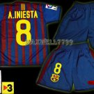11-12 BARCELONA HOME A.INIESTA 8 LFP+TV3 PATCH KITS KIDS SHORTS JERSEY # S
