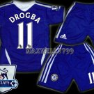 11-12 CHELSEA HOME DROGBA 11 PREMIER PATCH KITS KIDS SHORTS JERSEY # M,XL