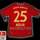 NEW 11-12 BAYERN MUNICH HOME MULLER 25 BUNDES LIGA PATCH SOCCER SHIRT JERSEY