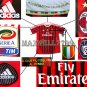 NEW 11-12 AC MILAN HOME BLANK CALCIO+TROPHY 7 FULL ALL PATCH SOCCER SHIRT JERSEY