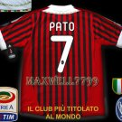 NEW 11-12 AC MILAN HOME PATO 7 CALCIO+TROPHY 7 FULL ALL PATCH SOCCER SHIRT JERSEY