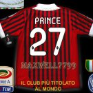 NEW 11-12 AC MILAN HOME PRINCE 27 CALCIO+TROPHY 7 FULL ALL PATCH SOCCER SHIRT JERSEY