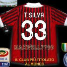 NEW 11-12 AC MILAN HOME T.SILVA 33 CALCIO+TROPHY 7 FULL ALL PATCH SOCCER SHIRT JERSEY