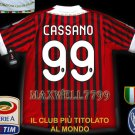 NEW 11-12 AC MILAN HOME CASSANO 99 CALCIO+TROPHY 7 FULL ALL PATCH SOCCER SHIRT JERSEY
