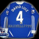NEW 11-12 CHELSEA HOME DAVID LUIZ 4 PREMIER PATCH SOCCER SHIRT LS JERSEY