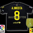 NEW 11-12 BARCELONA AWAY A.INIESTA 8 LFP+TV3 PATCH SOCCER SHIRT JERSEY