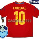 FINAL EURO 2012 SPAIN HOME FABREGAS 10 CHAMP EURO2008 RESPECT PATCHES SHIRT JERSEY