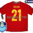 FINAL EURO 2012 SPAIN HOME SILVA 21 CHAMP EURO2008 RESPECT PATCHES SHIRT JERSEY