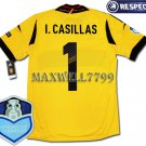 FINAL EURO 2012 SPAIN GOAL KEEPER I.CASILLAS 1 CHAMP EURO2008 RESPECT YELLOW SHIRT JERSEY