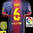 NEW 12-13 BARCELONA HOME XAVI 6 LFP+TV3 PATCH SOCCER SHIRT JERSEY