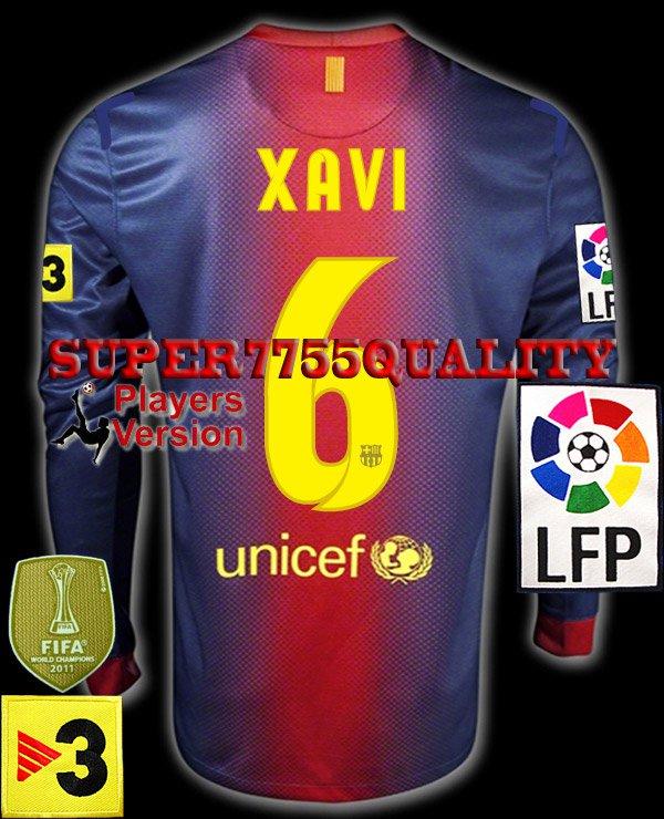 PLAYER VERSION 12-13 BARCELONA HOME XAVI 6 LFP+TV3 PATCH LS SOCCER SHIRT JERSEY