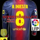 PLAYER VERSION 12-13 BARCELONA HOME A.INIESTA 8 LFP+TV3 PATCH LS SOCCER SHIRT JERSEY