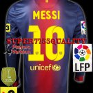 PLAYER VERSION 12-13 BARCELONA HOME MESSI 10 LFP+TV3 PATCH LS SOCCER SHIRT JERSEY