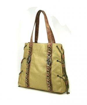 Ladies Designer Inspired Gold Handbag Purse