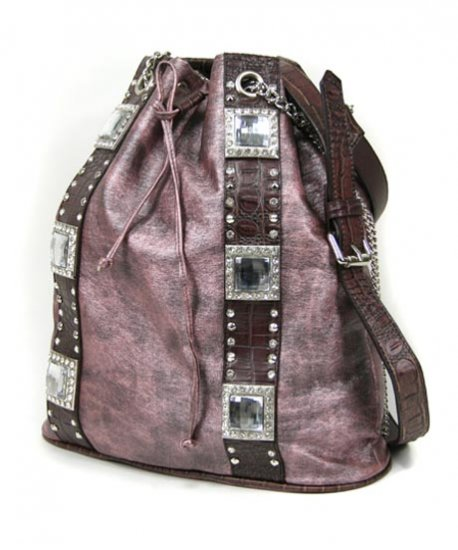 Ladies Designer Inspired Rhinestone Hobo Handbag