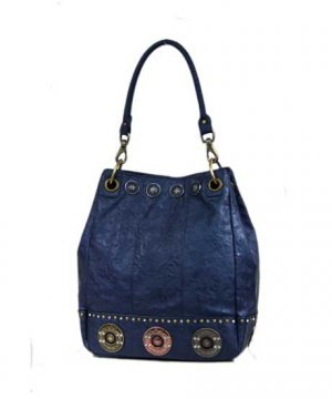 Ladies Designer Inspired Blue Hobo Handbag Purse