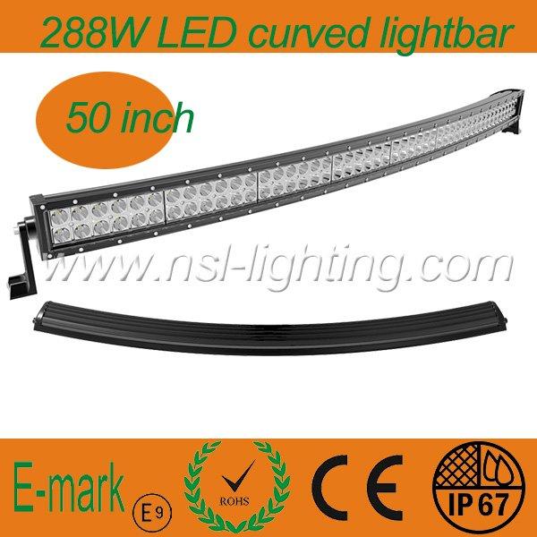 50 inch 288w cree 4x4 curve led light bar 50 inch waterproof ip67 4x4 curve led light bar